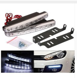Wholesale head light running - Free shipping 4PCS 8 LED Universal Car Light DRL Daytime Running Head Lamp Super White Color