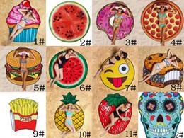 Wholesale 12 Beach Towels - 12 Designs Round Beach Towel Pizza Hamburger Skull Ice Cream Strawberry Smiley Emoji Pineapple Watermelon Shower Towel Blanket Shawl
