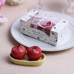 Wholesale Salt Pepper Shaker Apple - 2PCS Lot Wedding Favors Gifts Apple Ceramic Salt and Pepper Shaker Promotion Gifts DHL&FEDEX Free Shipping