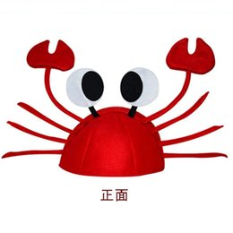 Wholesale Carnival Hats Wholesale - Wholesale-Funny crab hat carnival Festival decoration crab lobster head dress adult children christmas hat Dionysia Karneval hat