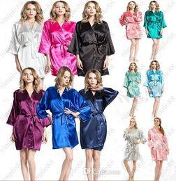 Wholesale Silk Dress Xxl - Women's Satin Robe Short Dressing Gown Women's Satin Kimono Bridesmaid Short Robes Women's Silk Satin Bathrobe Sleepwear S-XXL Free shipping