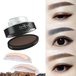 Wholesale Stamp Powder - Eyebrow Powder Eyes Makeup Eyebrow Stamp Seal Brands Waterproof Grey Brown Eye Brow Powder with Eyebrow Stencils Brush Tools