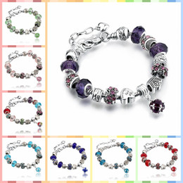 Wholesale Sterling Silver Glass Beads - 11 Colors Fashion 925 Sterling Silver Daisies Murano Glass&Crystal European Charm Beads Fits Charm bracelets Style Bracelets 20+3CM AA02