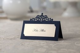 Wholesale Wholesale Crown Place Card Holders - 50PCS Wedding Table Card Decoration Laser Cut Crown Party Place Card Royal Blue Wedding Party Guest Name Place Card Holder Customized