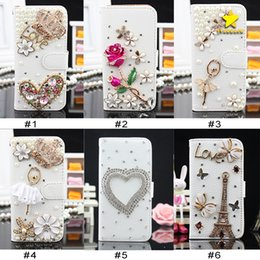 Wholesale Crystal Diamond Cases - For iPhone 8 Plus iPhone X Bling Csae Caver Case Crystal Leather Flip 3D Rhinestone Diamond Stand Wallet Case