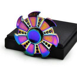 Wholesale Aluminum Bearing - 2017 New Rainbow Fidget Spinner Metal Anti Stress Hand Spinner Finger Spinner ceramic bearing Aluminum Alloy Tri Fidget EDC Gyro Toys