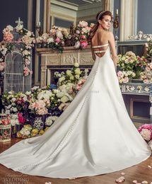 Wholesale Classic Details - simple clean elegant classic a line wedding dresses mikaella 2017 bridal strapless semi sweetheart neckline open strap back long train