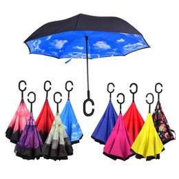 Wholesale Double Parasol Umbrella - Windproof Reverse Folding Double Layer Inverted Chuva Umbrella Parasols Umbrellas Self Stand Inside Out Rain Protection C-Hook Hands For Car