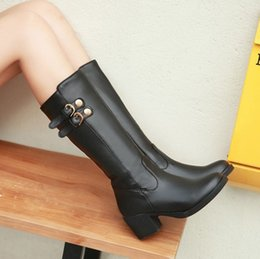 Wholesale Ivory Mid Heels - Spring Autumn Winter Female Canister Boots Thick High Heel Boots Knights Street Women Plus Size Boots Shoes 34-43