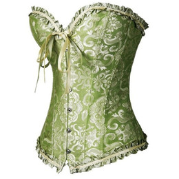 Wholesale Xxl Corset Red - New vintage green corsets and bustiers shapewear lingerie overbust corset plus size brocade women sexy corset S M L XL XXL XXXL 4XL