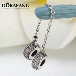 Wholesale Pave Diamond Charms - DORAPANG 925 Sterling Silver Bead Charm Pave Inspiration Diamond Crystal Safety Chain & Beads Fit Women Bracelet Bangle DIY Jewelry 5008