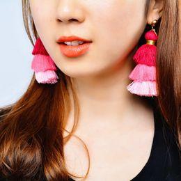 Wholesale Long Silk Earrings - Bohemian Vintage Style Multilayer Cotton Thread Silk Tassel Earrings for Women Boho Exaggerated Long Dangle Earring Ear Jewelry Gift XR941