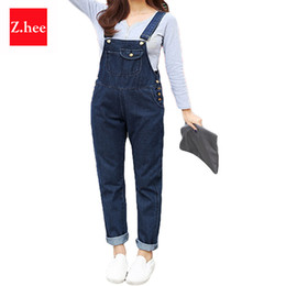 Wholesale Jumpsuits Womens Size - Wholesale- S-5XL Puls Size Loose Straps Denim Rompers Womens Jumpsuit Boyfriend Overalls For Women Jumpsuits And Rompers
