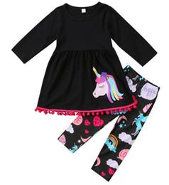 Ropa de otoño niños online-2017 OTOÑO Invierno Unicornio niños algodón traje bebé bosque animal niñas 2 piezas de manga larga pantalones ropa de boutique niños