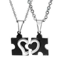 Wholesale Puzzle Titanium Lovers Necklace - 2017 hot loves fashion jewelry lovers puzzle lovers necklace with pure titanium steel chain