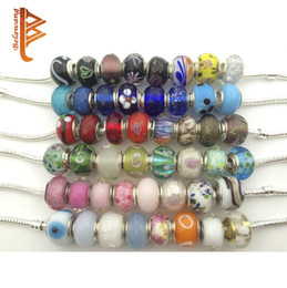 Wholesale Charms Murano White Style Pandora - BELAWANG Wholesale 50pieces 1lot Sterling Silver Handmade Lampwork Murano Glass Charm Beads For Pandora Charm Bracelet Making Mix Style