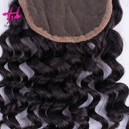 Wholesale Silk Top Closure Free Shipping - 2017 first hand quality 4x4 kindy curly Lace virgin hair closure weave Three Middle Free Part Closure Top silk based Closure Free shipping