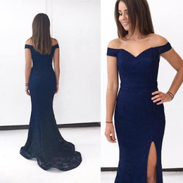 navy blue occasion dresses women Coupons - 2018 Modern Navy Blue Split Evening Dresses Sexy Mermaid Backless Off Shoulder Long Satin Party Gowns Women Occasion Evening Wear Formal