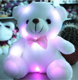 Wholesale Small Bear Gifts - J242 Kawaii!! New Arrival 20cm LED Soft Colorful Glowing Small Animal Bear Stuffed Doll Plush Toys Kids Gifts Wholesale