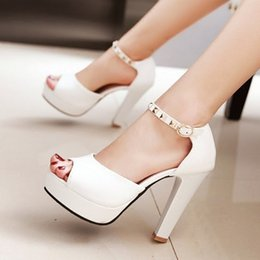 Wholesale Sexy Dress Factory - wholesaler free shipping factory price PU new style peep toes chunkyt heel sexy high heel women dress shoe 194