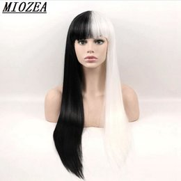 Wholesale Wig Black White Cosplay - Hair Black White Long Straight Wigs Synthetic Hair High Temperature Fiber Cosplay Wig 24inch Women Wig
