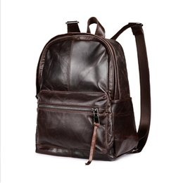 Wholesale Mens Backpack Casual - New Mens Womens Backpacks Oil Wax Cowhide Genuine Leather Backpacks Vintage Casual double shoulder bag free shipping