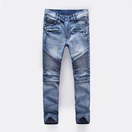 Wholesale Jean Shorts Men Skinny - Men's Distressed Ripped Skinny Jeans Fashion Designer Mens Shorts Jeans Slim Motorcycle Moto Biker Causal Mens Denim Pants Hip Hop Men Jean