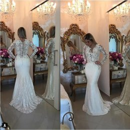 Wholesale Closed Neck Evening Gown - 2017 Barbara Melo White Lace long Sleeves Prom Dresses with beaded applique detail and Button close Back Formal Evening Gowns