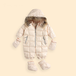 Wholesale Cotton Padded Jacket Romper - Wholesale- New Fashion Baby Winter Romper Ski Suit Jumpsuit Thickening Cotton-padded Coats and Jackets Down Jacket
