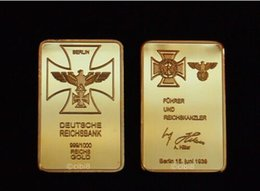 Wholesale People Gold Plated - WWII Third Reichbank Bullion Bar .999 fine Gold Plated German Eagle gold Clad bar Collect