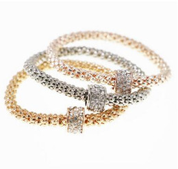 Wholesale Bead Setting Diamonds - 2017 Explosion-proof alloy bracelet diamond-studded beads corn chain bracelet plating three-color one set