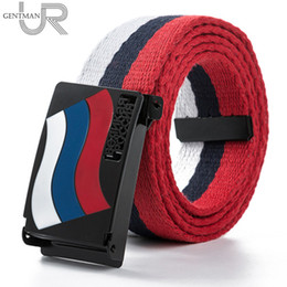 Wholesale Russian Leather Belt - Wholesale- New Arrivals Casual Women And Men Great Russian Letter Canvas Belt High Quality Russian Flag Jeans Belts