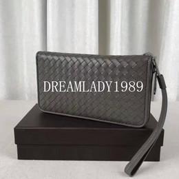 Wholesale Woven Designer Bags - Lambskin Real Genuine Leather Wallets Famous Brand Designer Mens Wallet Long Design Men Purse Woven Clutch Bag