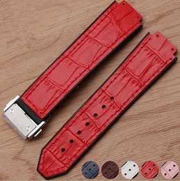 Wholesale Leather Tools Handmade - 21*15 mm Handmade Watch Bands Strap for Hub Women Watches Replace Genuine Leather Face and Silicone waterproof bottom + Tool