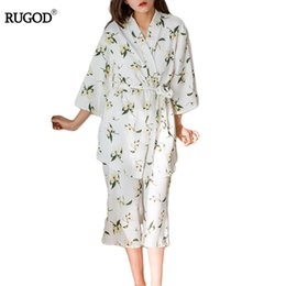 Wholesale Lounge Pyjamas Sets Women - Wholesale- New Women Cotton Pajamas Set 3 Piece Set Sleepwear Lounge Pyjamas Floral Print tops and pants Sets Sweet Female Pajamas Summer