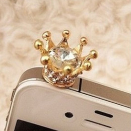 Wholesale Crown Earphone Jack Accessory - Imperial Crown 3.5mm Earphone Jack Anti Dust Plug stopper cap For Iphone Samsung xiaomi lg sony htc all Smartphone Phone Accessories