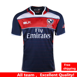 Wholesale Usa Rugby Xl - Hot sales NRL National Rugby League 2017 USA United States Rugby jerseys navy blue 17 18 USA rugby mens shirts