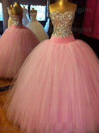 Wholesale Cheap Strapless Corset Dresses - 2017 Cheap Quinceanera Dresses for 16 Ball Gowns Pink Tulle Beaded Crystal Long Corset Formal Prom Dresses with Lace up