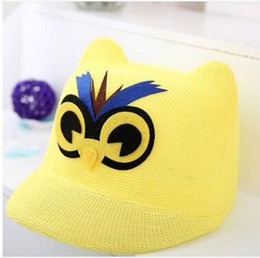 Wholesale Straw Owls - The new owl little hats caps childrens summer color matching straw hats wholesale kids animal hats
