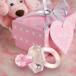 Wholesale Crystal Baby Pacifier Favors - Crystal Baby Shower Favors Newborn Baby Gift set Lover Crystal Pink Pacifier Baby Souvenir 10pcs wholesale