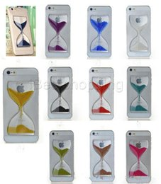 Wholesale Hourglass Liquid - New Clear Sand Clock Sand Glass Transparent Flowing Hourglass Pattern Liquid Case For iPhone 5 5S 6 plus 6s plus Samsung Mobile Phone Covers