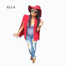 Wholesale Workwear Long Sleeve - Veste Blazer Femme 2015 Autumn Women Red Cape Blazer Fashion Long Sleeve Bomber Jacket Women Split Pockets Cape Blazer Workwear
