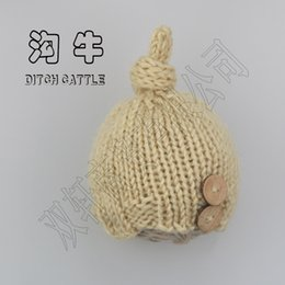 Wholesale Baby Photo Props Mohair - 0-3 months Hand knitting Baby photography props Mohair hat baby hatnewborn photo props