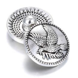 Wholesale Eagle Charm Bracelet - 10pcs lot Snap Jewelry button New Vintage Eagle Metal Snap fit 18mm Snap bracelet for women Men