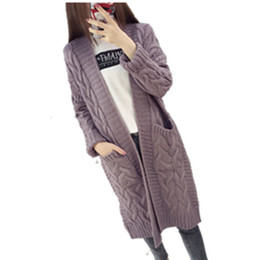 Wholesale Autumn Sweaters Women - 2017 New Autumn winter plus size loose sweater women twisted Long Sleeve Knitted Cardigan Women outerwear
