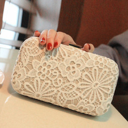 Wholesale Lace Wedding Clutches - Lace Bridal Hand Bags 2017 Style Fashion Lace Flower Women Clutch Bags For Party Evenings Formal Handbags
