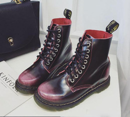 Wholesale Trendy Leather Boots - 4 Colors trendy brush color cowskin real leather shoes women platform martin boots durable sole invisible height