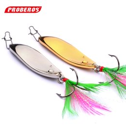 Wholesale Spinner Bait Fishing Lures Metal - Fishing lure 8g-15g classic road sub-bait VIB metal gold and silver sequins fish hook feather hook road bait M312