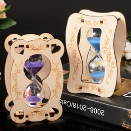 Wholesale craft christmas decorations - Home Decoration Timer clock Glass Hourglass Wood Crafts Sand Clock Wooden Hourglass Timer Christmas Gift LZ0080