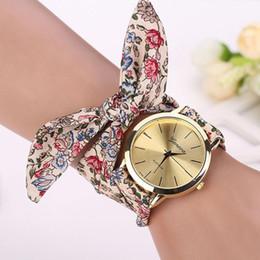 Wholesale Quartz Cloth - Montre 2016 Vogue Floral Strap Wristwatch Women's Jacquard Cloth Quartz Watch Women Geneva Bracelet Watches Relogio Feminino
